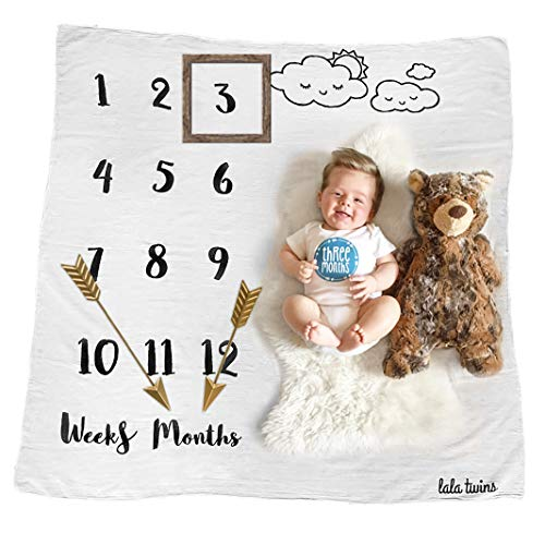 Baby Milestone Blanket Cotton Muslin - Monthly Newborn Swaddle Blanket 0-12 Months - Photo Shoot for Mother's Growing Infant Boy or Girl - Personalized Backdrop Photography Props - by lala twins -