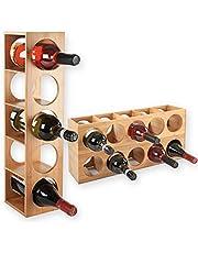 Gräfenstayn® Wijnrek CUBE - stapelbaar van bamboehout voor 5 wijnflessen om neer te zetten, te leggen, aan de muur te monteren, afmetingen 13,5 x 12 x 53 cm (l x b x h) wijnfleshouder wijnkist flessenrek
