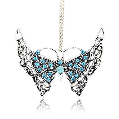 Kissity 2Pcs Antique Silver Plated Aquamarine Color Rhinestone Butterfly Charm Pendants for Mothers Day Gift Jewelry Making