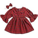 Toddler Kid Girls Dress Flare Sleeves Sundress Party Princess Dresses Headband 2pcs Sets 1-2T