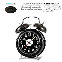 ZHPUAT Twin Bell Alarm Clock with Blacklight, Dimmer and Non-ticking Hands, Loud and Rrtro for Heavy Sleepers, Black
