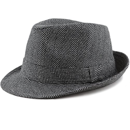 THE HAT DEPOT Faux Suede Wool Blend Trilby Fedora Hats (S/M, Black - Fedora Herringbone