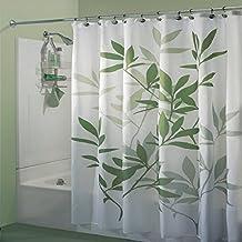 Moldiy Printed Leaf Waterproof Shower Curtain, 72*72-Inch, Green