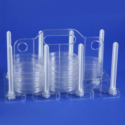 Bel-Art TPX 100mm Petri Dish Rack; 13½ x 8 x 9¼ in., 54 Places, Plastic  (F18985-0100) Desiccator Glass