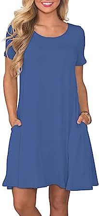 AUSELILY Vestidos de Camiseta Casual de Verano para Mujer Vestido de Manga Corta con Bolsillos
