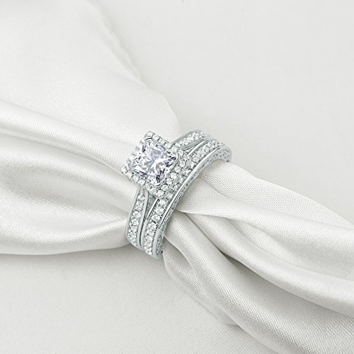 Newshe Princess White Cubic Zirconia Wedding Ring Set For Women 925 Sterling Silver Engagement Size (9) by Newshe Jewellery (Image #1)