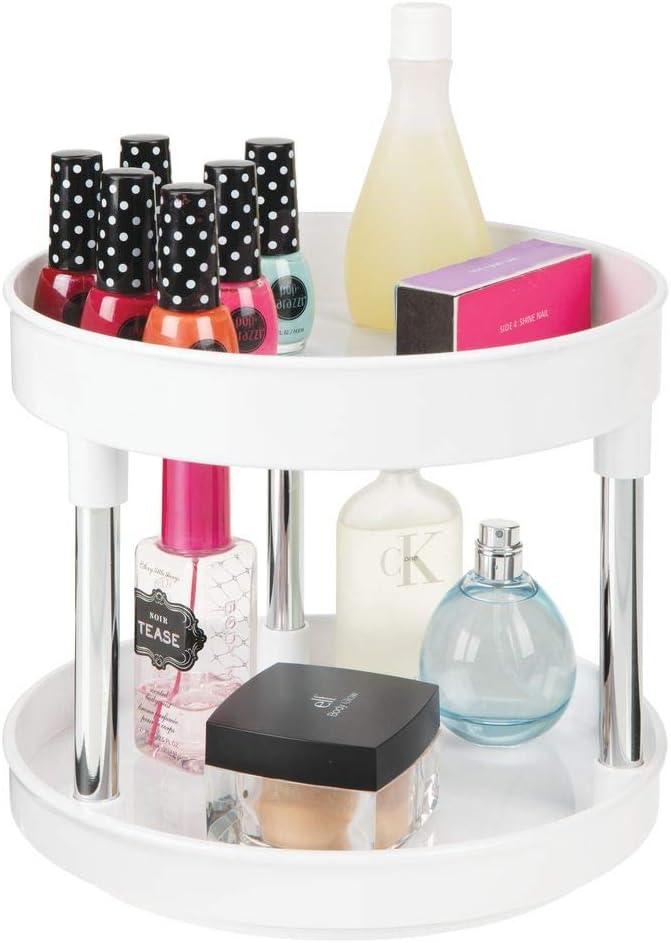mDesign Plastic Spinning 2 Level Lazy Susan Turntable Storage Tray - Rotating Storage Organizer for Makeup, Cosmetics, Nail Polish, Vitamins, Shaving Kits, Hair Spray, Medical Supplies - White/Chrome