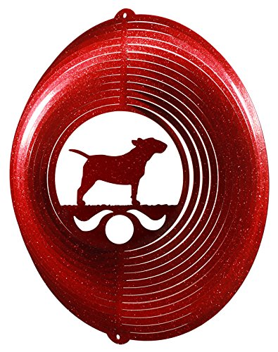 (SWEN Products Bull Terrier Circle Swirly Metal Wind Spinner)