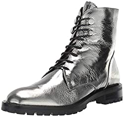 Kenneth Cole New York Women S Francesca Lace Up Combat Bootie Boot Pewter 9 M Us