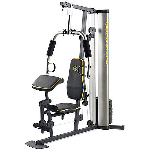 XR 55 Home Exercise Gold's Gym, weight stack, padded seat, preacher pad, chart by Gold's Gym