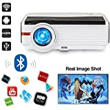 Caiwei 4200 Lumens Android 6.0 LCD Bluetooth Projector 1280x800 Pixels HD 1080P Home Entertainment Video Projectors Outside Movies, Wireless HDMI Multimedia Connectivity for DVD Smartphone TV Stick
