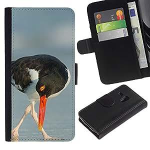 KingStore / Leather Etui en cuir / Samsung Galaxy S3 MINI 8190 / Été Mer Nature Oiseau