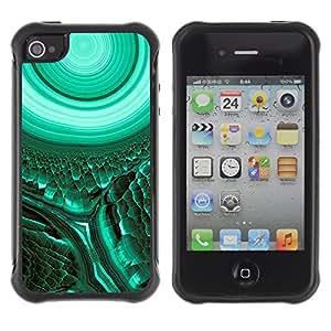 WAWU Funda Carcasa Bumper con Absorci??e Impactos y Anti-Ara??s Espalda Slim Rugged Armor -- green cell biology green teal mysterious -- Apple Iphone 4 / 4S