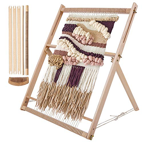 "WILLOWDALE 25.2""H x 19.3""W Weaving Loom with Stand Wooden Multi-Craft Weaving Loom Arts & Crafts, Extra-Large Frame, Develops Creativity Weaving Frame Loom with Stand for Beginner"