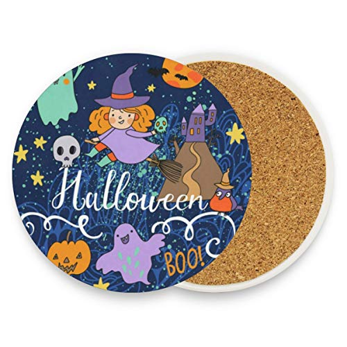 Coasters for Drinks,Ghost Moon Witch Pumpkin Birds Star Night Ceramic Round Cork Trivet Heat Resistant Hot Pads Table Cup Mat Coaster-Set of 4 Pieces
