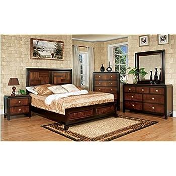 Duo-tone 4-Piece Acacia and Walnut Bedroom Set - Queen Size