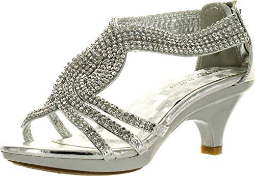 Fabulous Angel-37K Kids Little Girls Bling Rhinestone Platform Dress Heels Sandals,Silver,2
