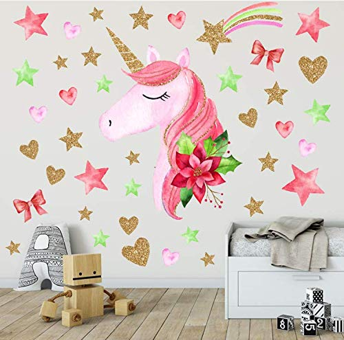 - AIYANG Unicorn Wall Decals Red Green Stars Flowers Wall Stickers for Nursery Baby Girl Room Window Decoration (Pink)