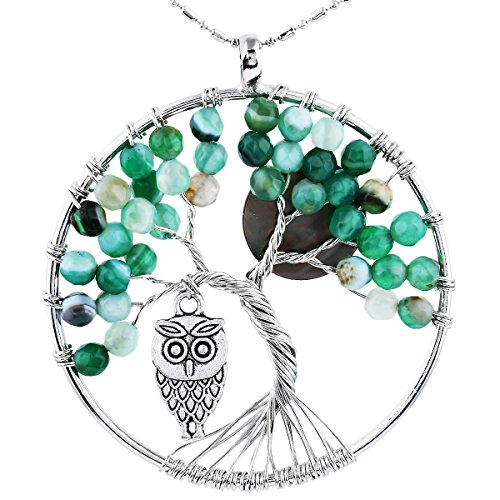 - SUNYIK Faceted Agate Tree of Life Necklce, Wire Wrapped Pendant Owl and Moon,Green