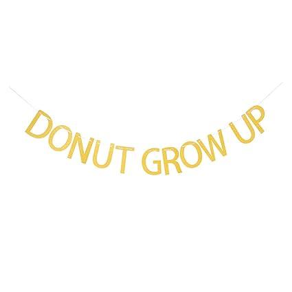 Amazon.com: Oro purpurina Donut Grow Up Banner, banderines ...