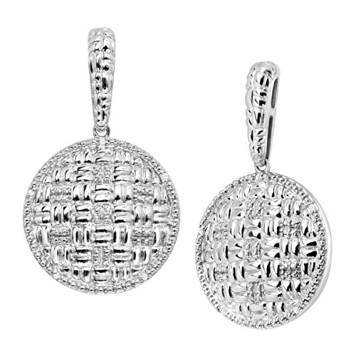 Basketweave Drop Earrings (Basketweave Drop Earrings with Diamonds in Sterling Silver)