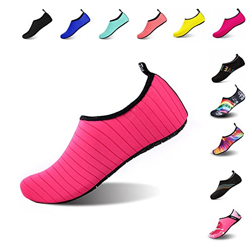 Ningmeng Mens Womens Water Shoes Barefoot Beach Pool Shoes Quick-Dry Aqua Yoga Socks For Surf Swim Water Sport (Red, 36/37EU)