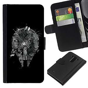 KingStore / Leather Etui en cuir / LG G3 / Enfriar el Plan Resumen Negro monocromo