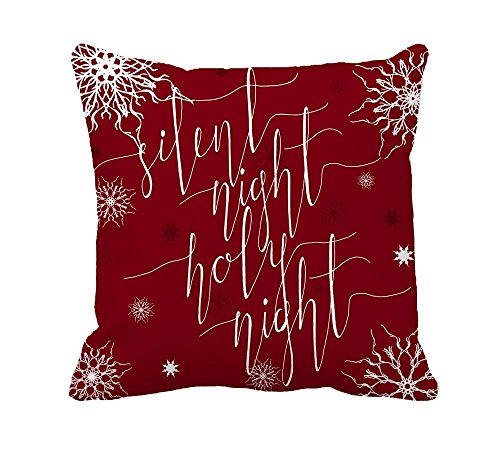 HONGYUD Silent Night, Holy Hight, Christmas Carol Inspirational Quote Home Decor Throw Pillow Case Cushion Cover Cotton Polyester for $<!--$3.99-->