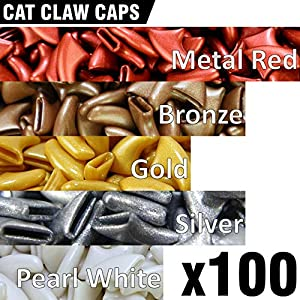 zetpo 100 pcs Soft Cat Claw Caps for Cats Nail Claws 5X Colors + 5X Adhesive Glue + 5X Applicator, Pet Tips Cover Paws Soft Covers 4