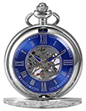KS KSP071 Men's Mechanical Pocket Watch Retro Rome Number Silver Case With Chain