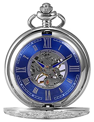 KS KSP071 Men's Mechanical Pocket Watch Retro Rome Number Silver Case With Chain (Mechanical Pocket Watch Engraved)