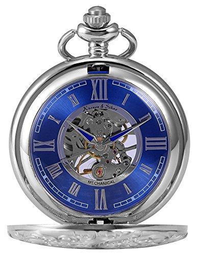 KS KS KSP071 Men's Mechanical Pocket Watch Retro Rome Number Silver Case With Chain