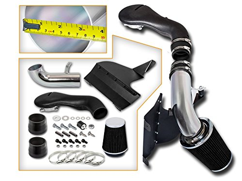 Cold Air Intake System with Heat Shield Kit + Filter Combo BLACK for 96-04 Chevy S10/ Chevy Blazer / 96-01 GMC Jimmy / 96-04 GMC Sonoma V6 4.3L -