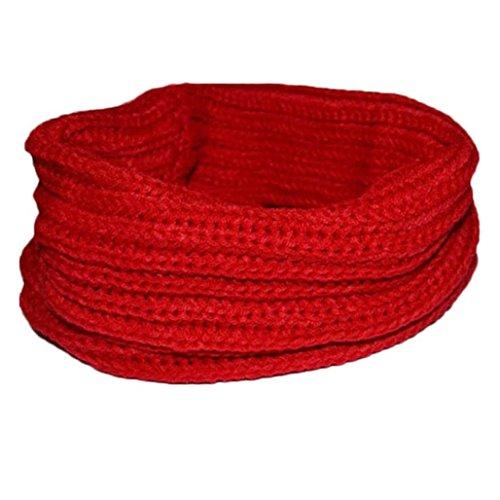 Tenworld Women Lady Warm Knit Neck Circle Wool Blend Cowl Snood Multi-purpose wool Scarf Shawl Scarves Wrap Stole Fashion Hot (Red) (Crinkle Silk Pant)