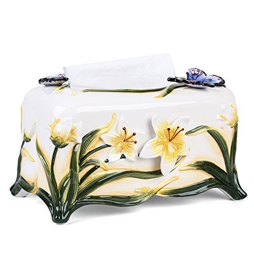 FORLONG FL9002 Ceramic Facial Tissue Dispenser Box Paper Dispenser Box Tissue Holder for Bathroom Vanity-Orchid Porcelain Tissue Box