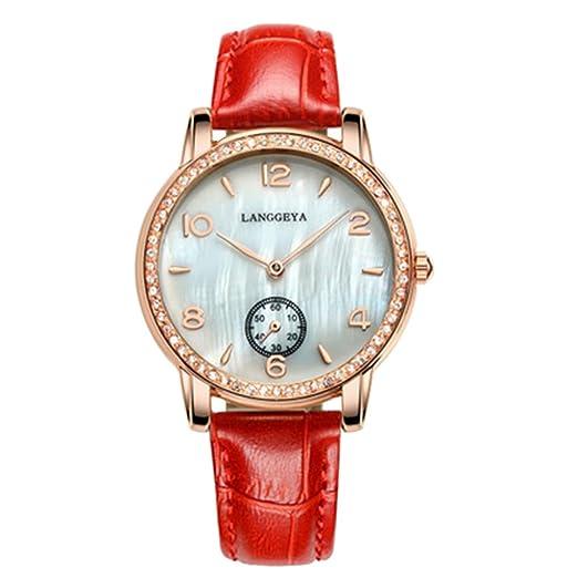 Nueva mujer cuadrado vestido de muñeca de piel auténtica relojes marca de lujo relojes moda casual cuarzo reloj, color rosso: Amazon.es: Relojes