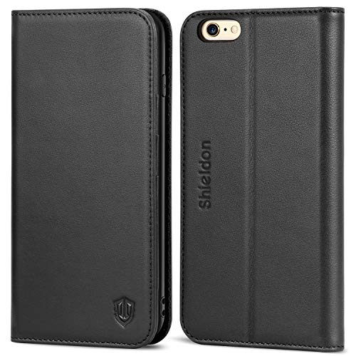 iPhone 6S Case iPhone 6 Case, SHIELDON Genuine Leather Case [Wallet] Flip Book Cover Design with Kickstand Function and ID Credit Card Slot Magnetic Closure for iPhone 6/6S, Black ()