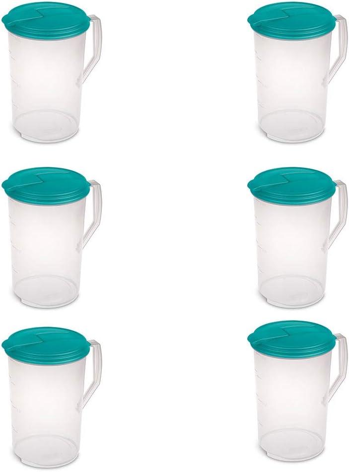 Sterilite 1-Gallon Round Plastic Pitcher and Spout, Clear w/Color Lid (6 Pack)