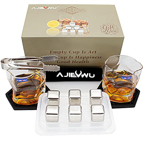 Whiskey Stones Gift Set - Whiskey Rocks Ice Cubes Whiskey Chilling Stones for Men with 2 Whiskey Glasses and 6 Stainless Steel Ice Cubes Present for Men Boyfriend Anniversary Retirement (Silver)