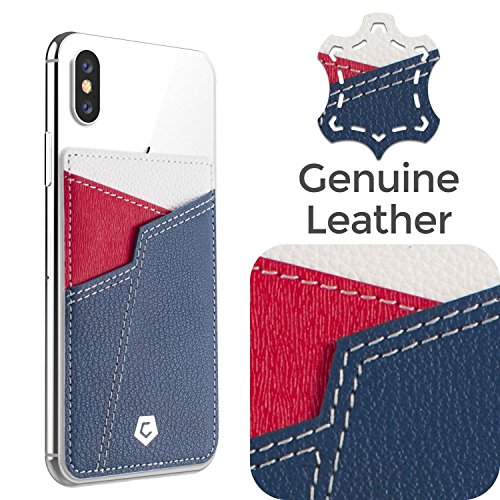 Cobble Pro Genuine Leather Stick On Card Holder Wallet Case for Back of Phone, Sport Teams Fans Lover Adhesive Sleeve Pocket Compatible with iPhone Xs Max/XS/XR/X/8 Plus, Android Samsung LG, Blue