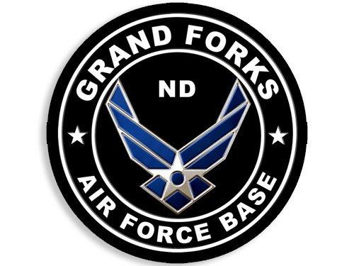 American Vinyl Round Grand Forks Air Force Base Sticker (North Dakota nd Military USAF)