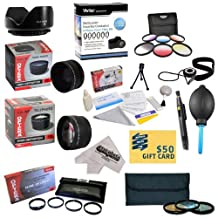 25 Piece Advanced Lens Package For The Canon EOS 7D 50D 5D 60D 70D T1I, T3, T4I, T3I, T5I, T5 SL1 650D, 15-85mm 18-200mm 28-135mm (EF 35mm f/1.4L, EF 85mm f/1.2L II, EF 135mm f/2L) Includes 72MM 0.43X HD2 Wide Angle Panoramic Macro Fisheye Lens + 72MM 2.2x HD AF Telephoto Lens + 72MM 3 Piece Pro Filter Kit (UV, CPL, FLD) + 72MM 6 Piece Multi-Colored Graduated Filter Set + 72MM 5 PC Close-Up Set (+1, +2,+4 with 10X Macro Lens) + 72MM Flower Lens Hood + Deluxe Lens Cleaning Kit + 5PC Lens Cleaning