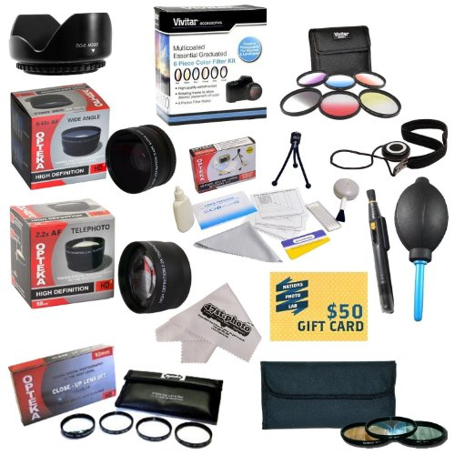 25 Piece Advanced Lens Package For The Olympus E-620, E-610, E-520, E-510, E-500, E-450, E-420, E-410, E-5, E-3, E-330, E-1 & E-30 Digital SLR Cameras - Will Work with the following Zuiko Lenses: 70-300MM, 40-150MM, 14-42MM, 14-45MM, 14-52MM & 35-70MM Lenses - Package Includes 0.43X HD2 Wide Angle Panoramic Macro Fisheye Lens + 2.2x HD AF Telephoto Lens + 3 Piece Pro Filter Kit (UV, CPL, FLD) + 6 Piece Multi-Colored Graduated Filter Set + 5 PC Close-Up Set (+1, +2,+4 with 10X Macro Lens) + (Olympus 45 Hood compare prices)