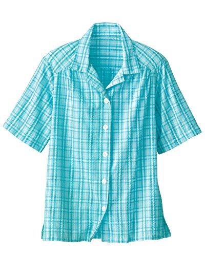 (National Plaid Seersucker Camp Shirt, Aqua, 2X)