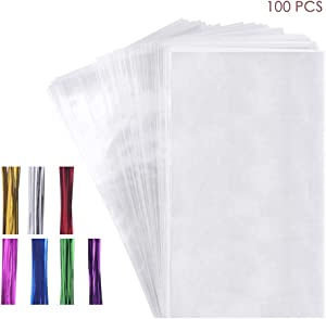 100 Cello Cellophane Treat Bags(1.8mil.),7X12in Big OPP Clear Plastic Bags for Bakery,Popcorn,Cookies, Candies,Dessert with 7 Colors Twist Ties!
