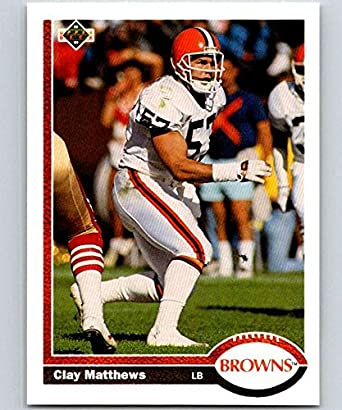 buy online 960c0 63d5f Amazon.com: Football NFL 1991 Upper Deck #310 Clay Matthews ...