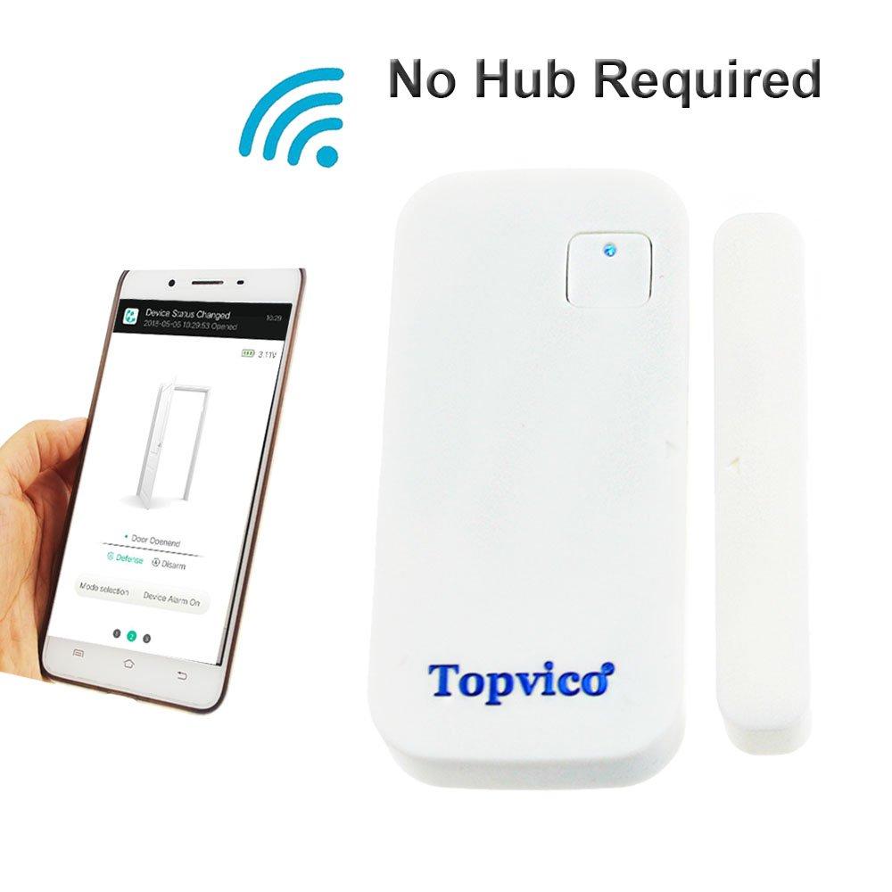 Topvico Door Sensor WiFi APP Control 110dB Chime Open Door/Window Alarm Sensors, No Hub Required, Battery Powered