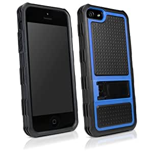 BoxWave Apple iPhone 5 Resolute OA3 Case - 3 in 1 Protective Hybrid Case with Foldable Stand Featuring 3 Ultra Durable Layers for Apple iPhone 5 Extreme Protection - Apple iPhone 5 Cases and Covers (Tenacious Blue)