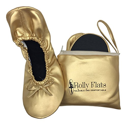 Rolly Flats - Women's Foldable Portable Pumps Flats Ballet Shoes with Carrier Pouch Bag Gold 0kgBRYzvo