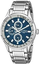 Armitron Men's 20/5055NVSV Multi-Function Dial Silver-Tone Bracelet Watch